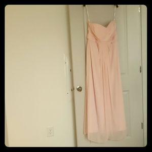 Full length David's Bridal Petal Pink dress